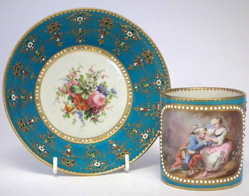Lot 84-Sevres coffee can and saucer.