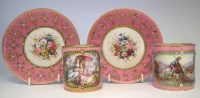 85 - Two Sevres coffee cans and saucers pink.