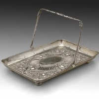 Lot 183-Silver swing handle dish.