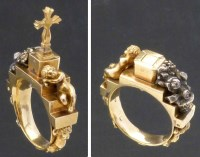 Lot 270-Unmarked gold, silver, diamond devotional ring, 18/19th century