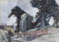 364 - Reginald G. Haggar, Rural lane with trees and buildings, watercolour.