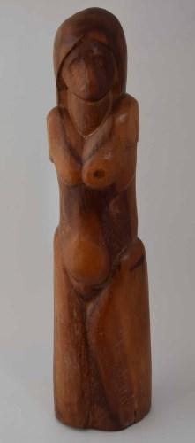 385 - Geoffrey Key, Female figure, wooden sculpture.