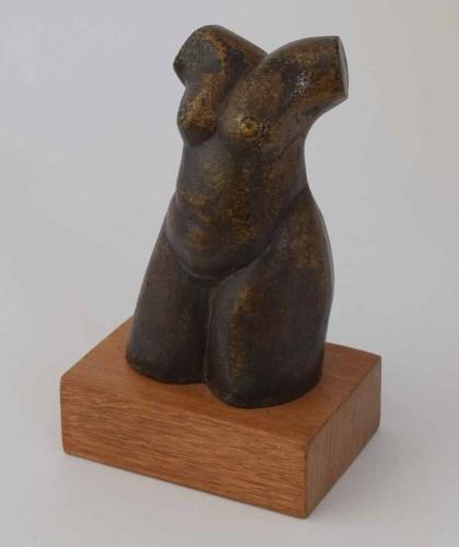 386 - Geoffrey Key, Female torso, bronze sculpture.