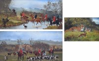 Lot 390-Sylvester Martin, Two hunting scenes and another depicting foxes, oil (3).