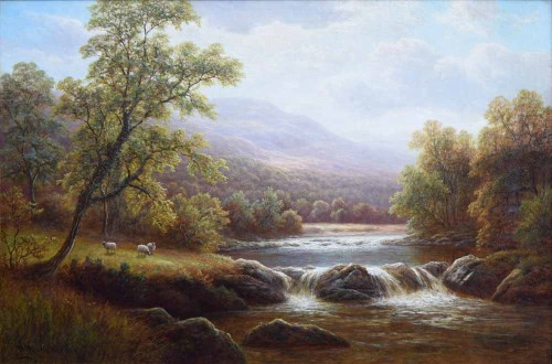 Lot 405-William Mellor, On the Wharfe, Yorkshire, oil.