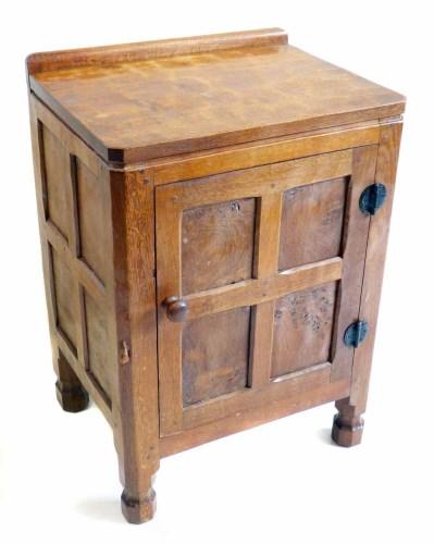 Lot 521-Mouseman bedside cabinet