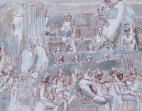 Lot 736 - Dorothy Bradford, Orchestral Rehearsal, ink and watercolour.