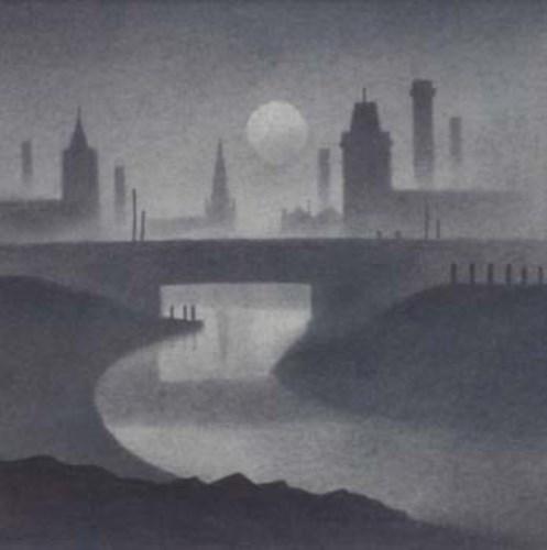 576 - Trevor Grimshaw, Evening Canal, pencil.