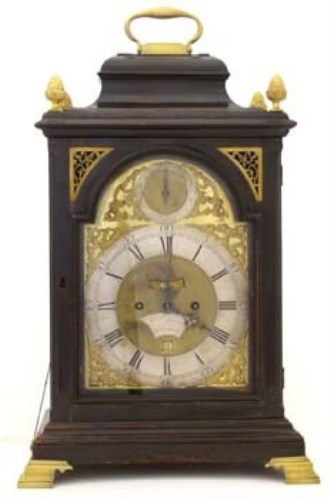 Lot 666-Twin fusee and verge ebonised bracket clock