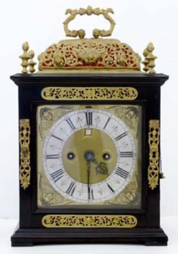 Lot 669-Ebonised bracket clock.