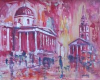 Lot 514-J.L. Isherwood, Pink Rain, National Gallery and St Martin-in-the-Fields, oil.