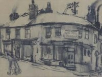 618 - Harold Riley, Pawn Shop, Salford, charcoal.