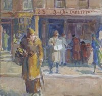Lot 647-Martin Hamlyn, Street scene with figures, watercolour.