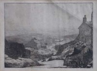 698 - Pierre Adolphe Valette (1876-1942), Moorland View, etching.