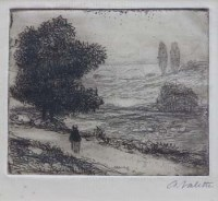 699 - Pierre Adolphe Valette (1876-1942), Landscape with Viaduct, signed etching.