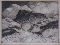 701 - Pierre Adolphe Valette (1876-1942), French Alps, 1915, signed etching.