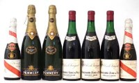 80 - Three bottles of Bouchard Aine Fils' Clos De Vougeot 1959, also two bottles of champagne pommery 1961, also two bottles of Cordon Rouge 1955 G.H. Mumm