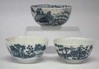 Lot 183-Lowestoft tea bowl and two worcester tea bowls.