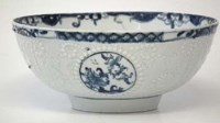Lot 186-Lowestoft bowl circa 1765  crisply moulded with a