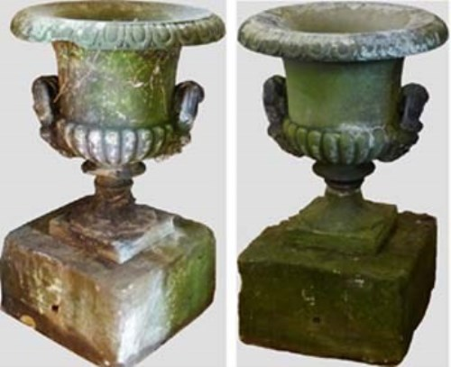 683 - Pair large stone urns on plinths.