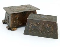 35 - Two arts and crafts embossed boxes.