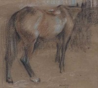 392 - Robert Sargent Austin, Hunter in a stable, crayon.