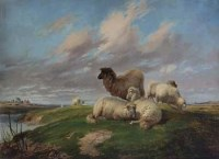 466 - Thomas George Cooper, Sheep in a rural landscape, oil.