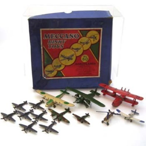 Lot 79-Meccano part No. 60 airplane set and others.