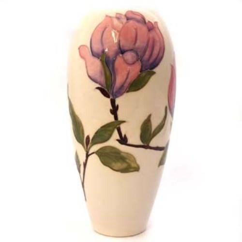 Lot 380 Moorcroft Magnolia Pattern Vase Cream