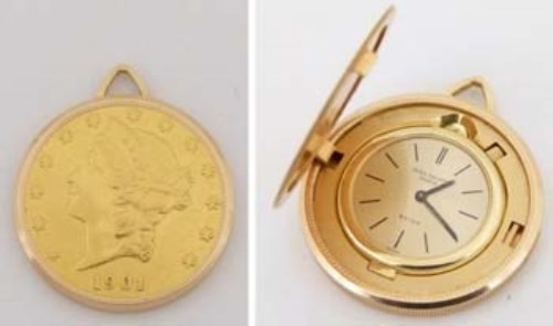 Lot 628-Patek Philippe $20 coin watch, cased