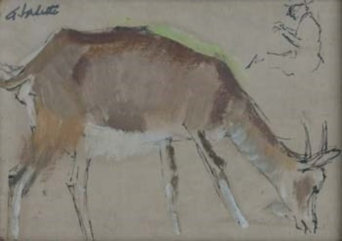 639 - P.A. Valette, Goat study, ink and oil.