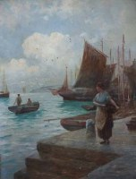 Lot 878 - Henry Martin, Harbour scene with figure, oil.