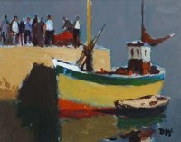 373 - Donald McIntyre, Fishing Boat Dark Sky, acrylic.