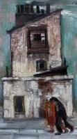 416 - Harold Riley, Buildings, Salford, oil.