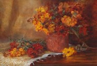 498 - Ernest Higgins Rigg, Floral still life study, oil.