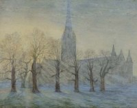 732 - William Callow, Salisbury Cathedral - Morning, watercolour.