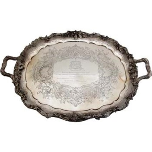 Lot 237-Victorian large silver tray, London 1848, with