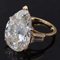 Lot 291-Large pear-cut single stone diamond ring