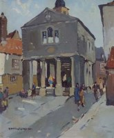 389 - Donald McIntyre, Market Place, Whitby, oil.