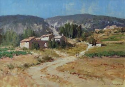 449 - James Longueville, Farms in the Luberon, Provence, oil.