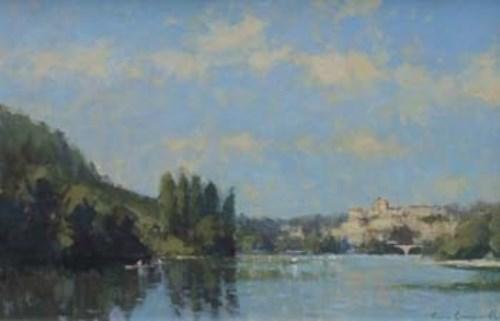 450 - James Longueville, The Dordogne above La Roque Gageac, oil.