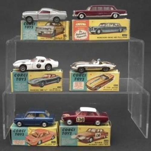 132 - Six Corgi boxed cars