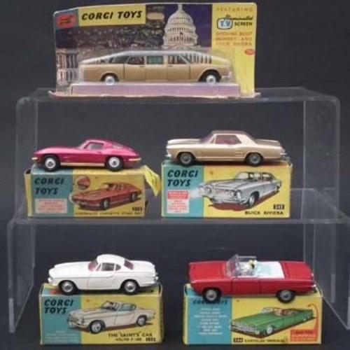 133 - Five Corgi boxed cars