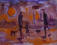 499 - J.L. Isherwood, Sun, Purple, Clogs and Shawl, oil