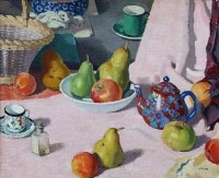 482 - Pierre Adolphe Valette, Still life with teapot, fruit and basket, oil