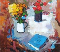 57 - Donald McIntyre, Flowers in White Jug, acrylic