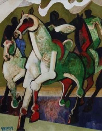 1 - Geoffrey Key, 3 Riders, oil