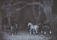 63 - C.F. Tunicliffe, Horses on a country lane, pastel
