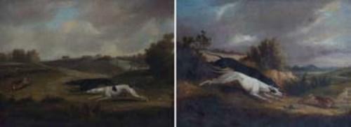 Lot 150-English School, Hare coarsing scenes, oil (2)