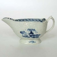 Lot 492-Lowestoft sauceboat circa 1770   with floral